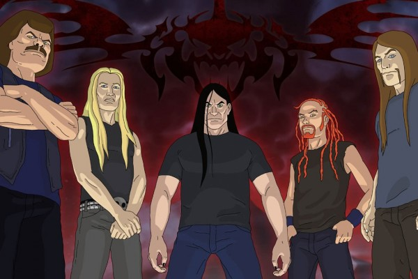 Dethklok photographed by Brendon Small
